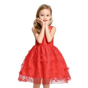 Girls Wedding Dress Age 2-8T Baby Kids Princess Dresses Appliques Sleeveless Party Dress Girl Elegant Red Yellow Formal Clothing
