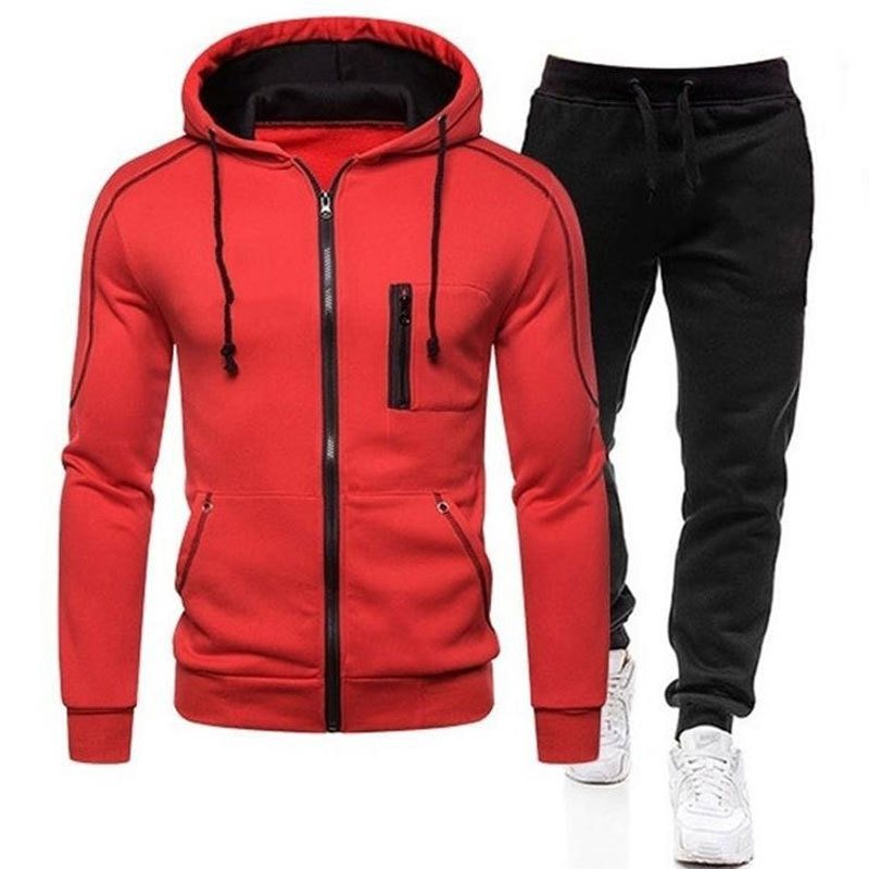 New 2021 Fashion Men's Set  Hoodie Pant Thick Warm Tracksuit Sportswear Hooded Track Suits Male Sweatsuit TracksuitLeisure Tren