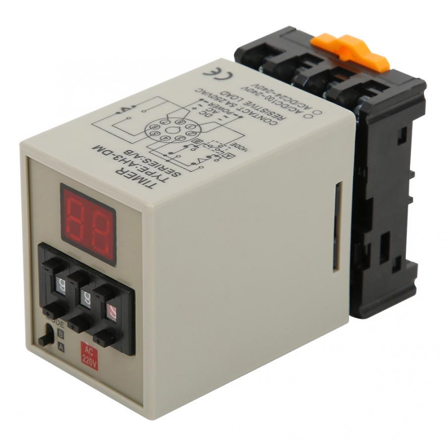 Alta qualidade relé temporizador de atraso display digital a/b modo duplo com base alta precisão ac220v AH3-DM travamento relé