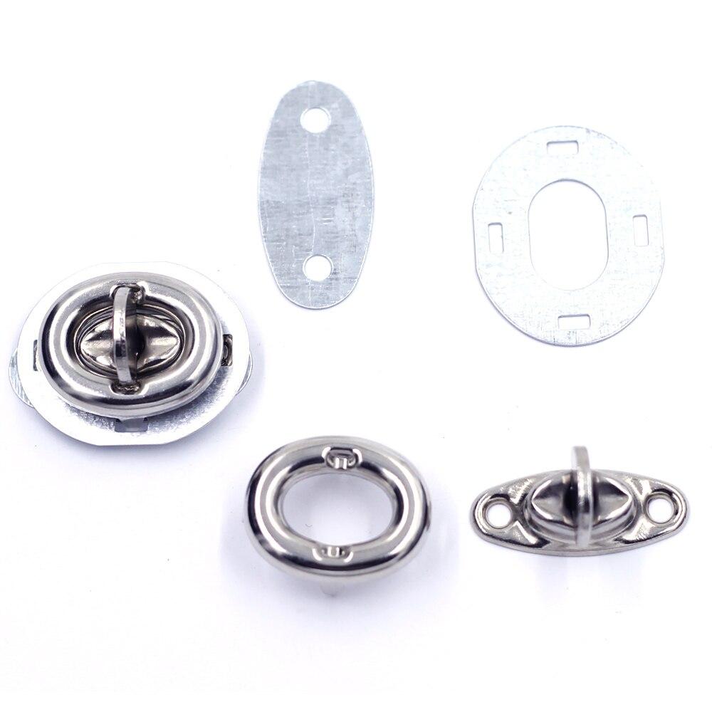 5 conjuntos de tom prata oval interruptor volta torção fecho fechaduras fivela para bolsa bolsa saco ferramenta de ferragem diy encontrando 33x26mm