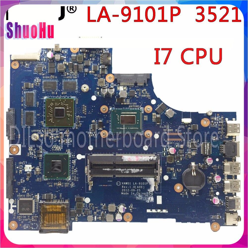 KEFU VW55C 0VW55C VAW01 LA-9101P для DELL INSPIRON 3521 5521 материнская плата для ноутбука I7 CPU PM тестовая материнская плата DDR3 HM76 Intel