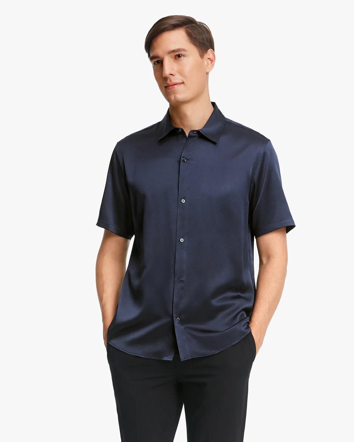 Luxury Short-Sleeved 19MM Pure Silk Shirt For Men Short-Sleeved T Shirt