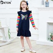 Платье для девочек Dxton, зимний костюм для рождественских праздников, детское повседневное платье с длинным рукавом в полоску и бабочкой из блёсток, 2019