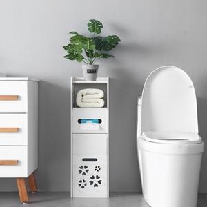 Bathroom Cabinet Bathroom Furniture 3-tier Bathroom Storage Cabinet with Garbage Can 25*25*80CM