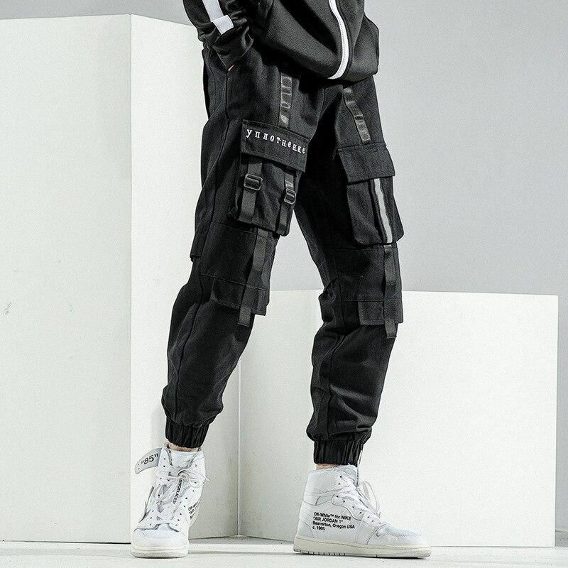Штаны-карго HOUZHOU мужские черные, уличная одежда в Корейском стиле, в стиле хип-хоп, серые брюки-карго, модель Японская уличная одежда, весна-о...