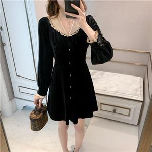 Женское бархатное приталенное платье, элегантное бархатное платье в стиле ретро, размеры s-xl, Осень-зима 2020