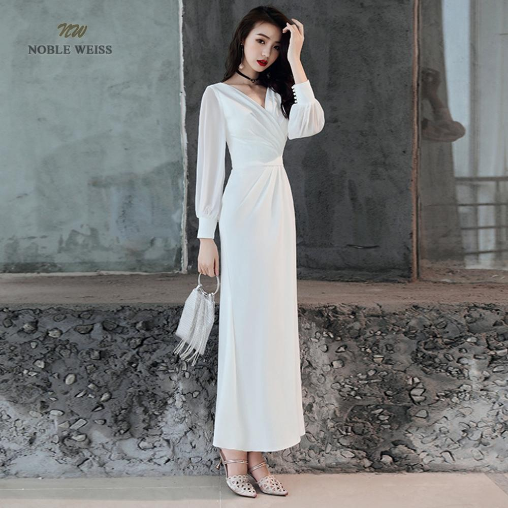 NOBLE WEISS In Stock V-Neck Zipper Back Mermaid Long Wedding Dresses Long Sleeves Bridal Dress