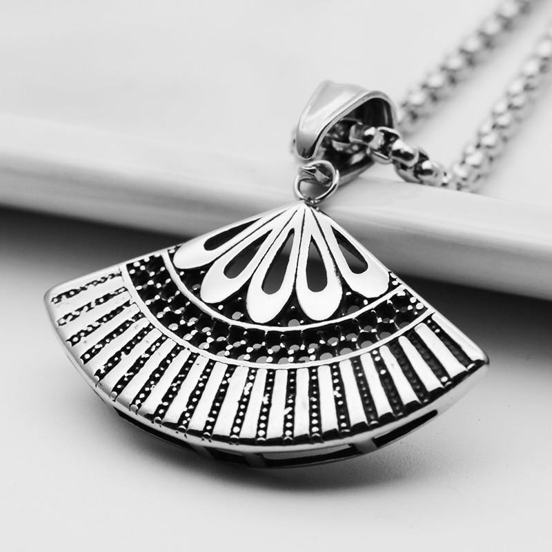 Collar étnico de estilo chino con colgante geométrico de acero inoxidable, regalos para fanáticos, amuleto de joyería para hombres y mujeres