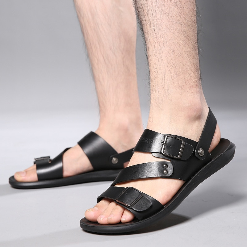 2021 Men Summer Sandals Fashion Solid Color Leather Man Shoes Casual Comfortable Open Toe Sandals So