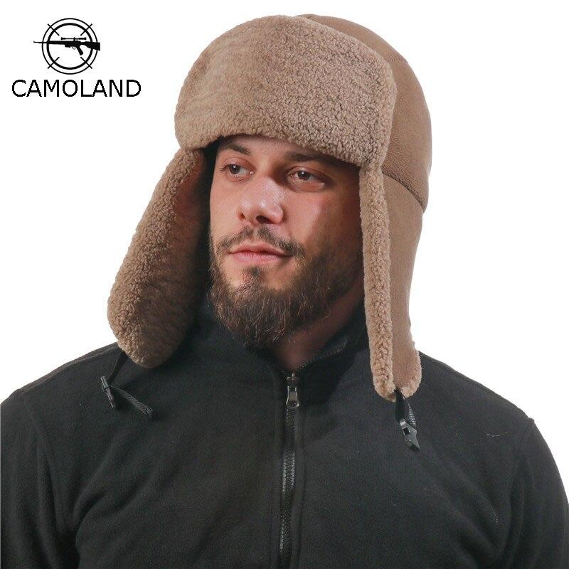 CAMOLAND Warm Winter Hats Women Men Thermal Faux Fur Bomber Hat Outdoor Windproof Earflap Caps Male