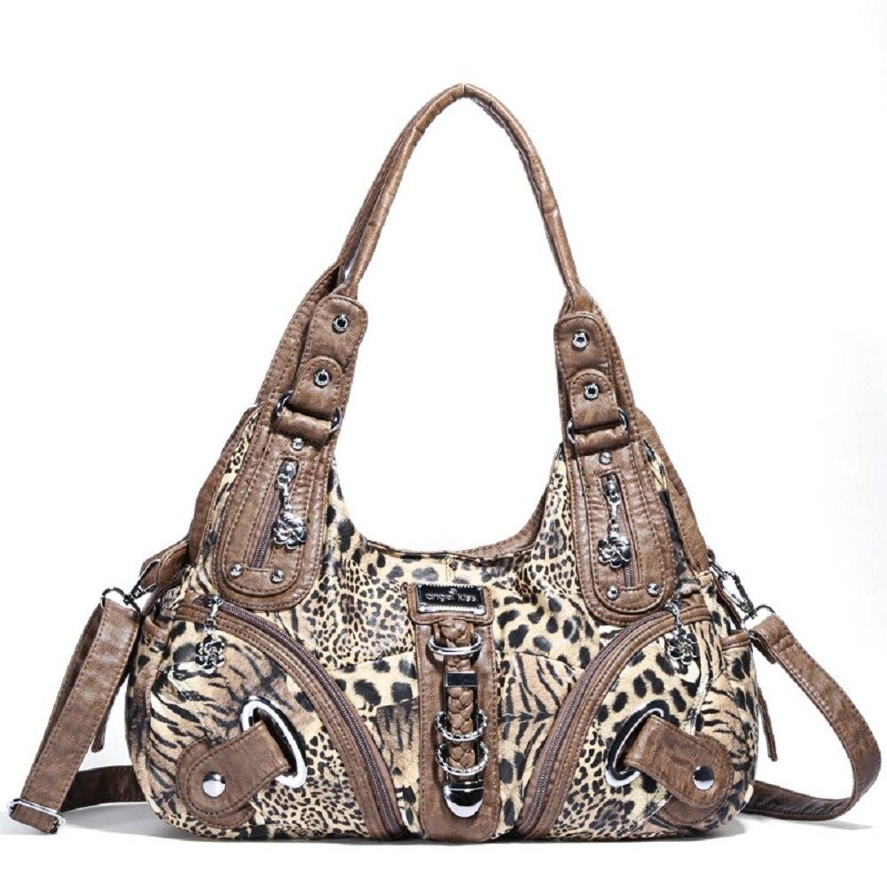 Angelkiss-حقيبة يد نسائية بطبعة جلد الفهد ، حقيبة بمقبض علوي ، عصرية ، حقيبة كتف ، حقيبة حمل Hobos ، كبيرة