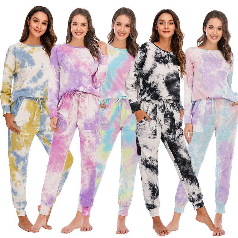 2020 Autumn Winter Loungewear Women Pyjama Set Tie-dye Home Wear Home Set Homewear Women Long Sleeve Loungewear Sleepwear set eponj home set