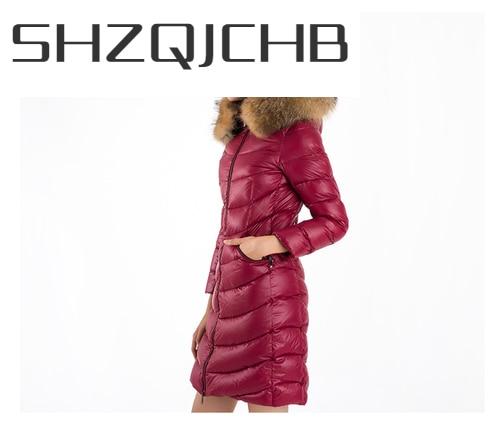 SHZQ الشتاء المرأة أسفل سترة كبيرة الراكون الفراء مقنعين الملابس 2021 الكورية سميكة الدافئة طويلة 90% بطة أسفل معطف Hiver L8026