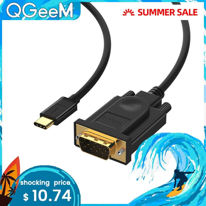 QGEEM USB C к VGA Кабель USB type C USB-C к VGA папа конвертер Кабель-адаптер для Apple Новый Macbook ProDell XPS 13 VGA USB-C