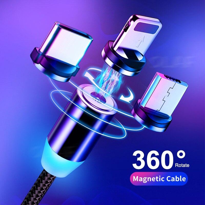 Chilam-Cable USB LED magnético de carga rápida tipo C, cargador magnético, Cable...