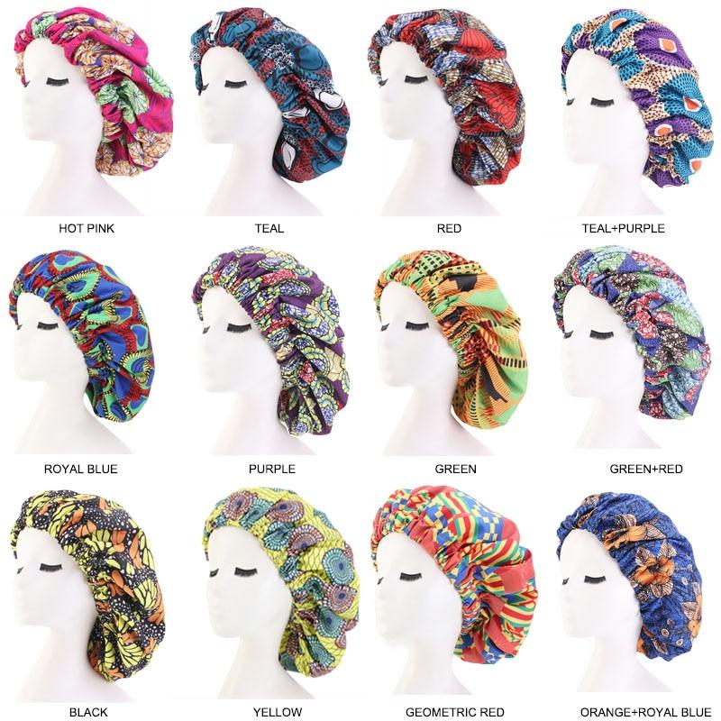 500 pcs/lot Wholesale Extra Large Satin Bonnet Ankara Print African Pattern Bonnet Women Night Sleep Cap Double Layer Headwear