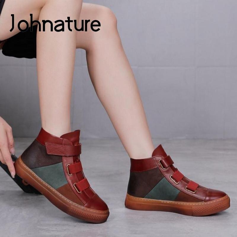 Johطبيعة-حذاء نسائي من الجلد الطبيعي ، حذاء مسطح بإصبع دائري وخطاف ، مصنوع يدويًا ، لفصل الشتاء ، 2021