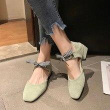 2020 nouveau printemps et automne femmes chaussures à talons hauts couleur correspondant vague dot nœud mode tête carrée matcha vert petit fres