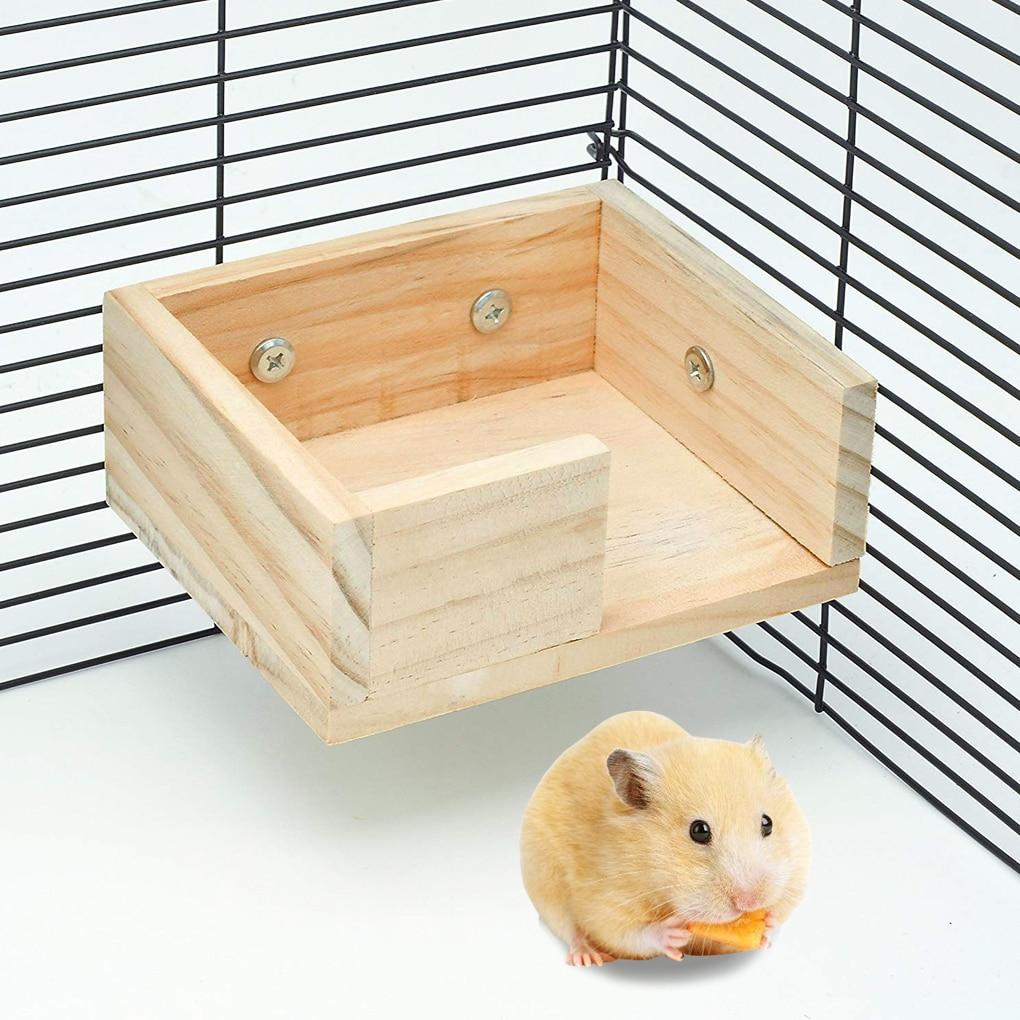 Suspensión de plataforma de vigía de hámster, jaula de hámster colgante de madera para mascotas, juguete para hacer ejercicio