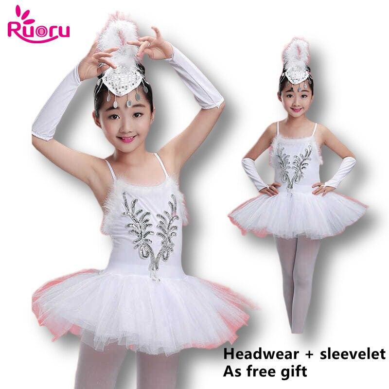 Ruoru White Ballet Tutu Skirt Ballet Dress Children's Swan Lake Costume Kids Ballet Dance Costumes Ballet Leotard Ballerina