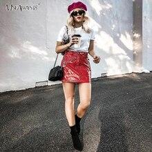 Mnealways18 rouge Punk PU jupe fermetures à glissière en métal bouton court femmes jupes en cuir 2019 automne Mini jupe dames Streetwear femme