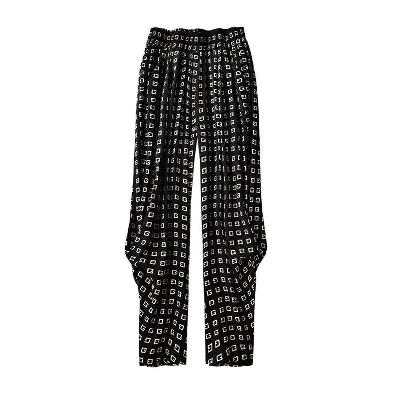 Shuchan Fashion Design Natural Silk Print Geometric  Bloomers  Summer  Ankle-Length Pants  STREETWEAR  Women Sweatpants