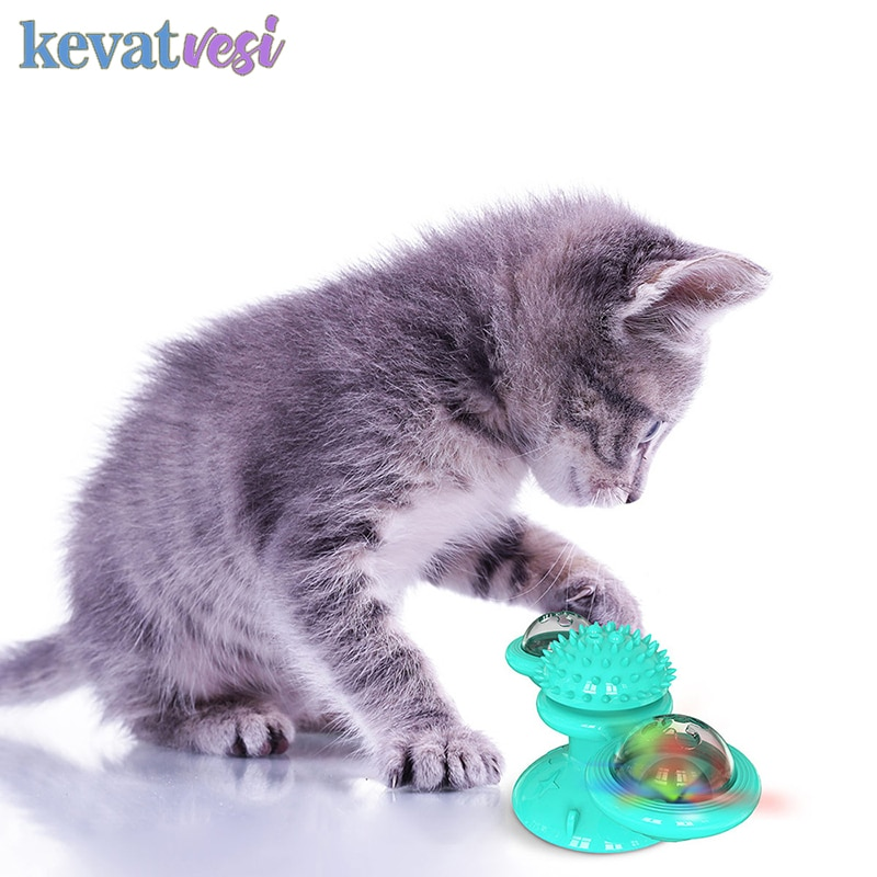 Três-cabeça Puzzle Brinquedo Moinho de Vento Gato Treinamento Interativo Brinquedos Catnip Forte Resistência a Morder Bolas Livres Tóxicos Seguro Fontes Do Gato