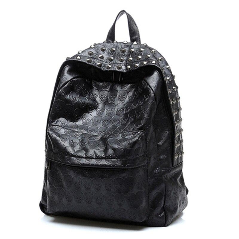 Женский большой кожаный рюкзак с заклепками, повседневный школьный ранец с черепом, Черный дорожный рюкзак, рюкзак для девочек-подростков