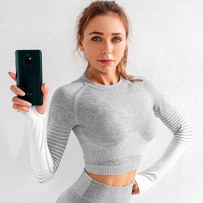 X-HERR  Seamless Crop Top Push Up Yoga Bra Long Sleeve Tops For Women Gym Fitness Yoga Tight Active Leggings