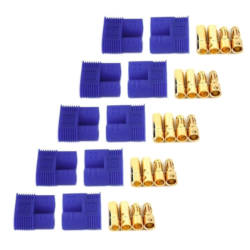 10pcs 5 pairs connector ends battery quick connector 50a 8awg plug with terminal pin new 5 Pairs/10pcs EC3 Gold Plug EC3 3.5mm Plug+Socket Connector 60A With Sheath Housing Golden Battery Connectors Bullet Plug