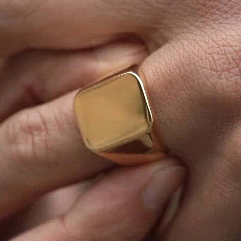 Anillo para hombre, anillo de acero inoxidable, Anillos clásicos, tono dorado, joyería masculina, Bisutería