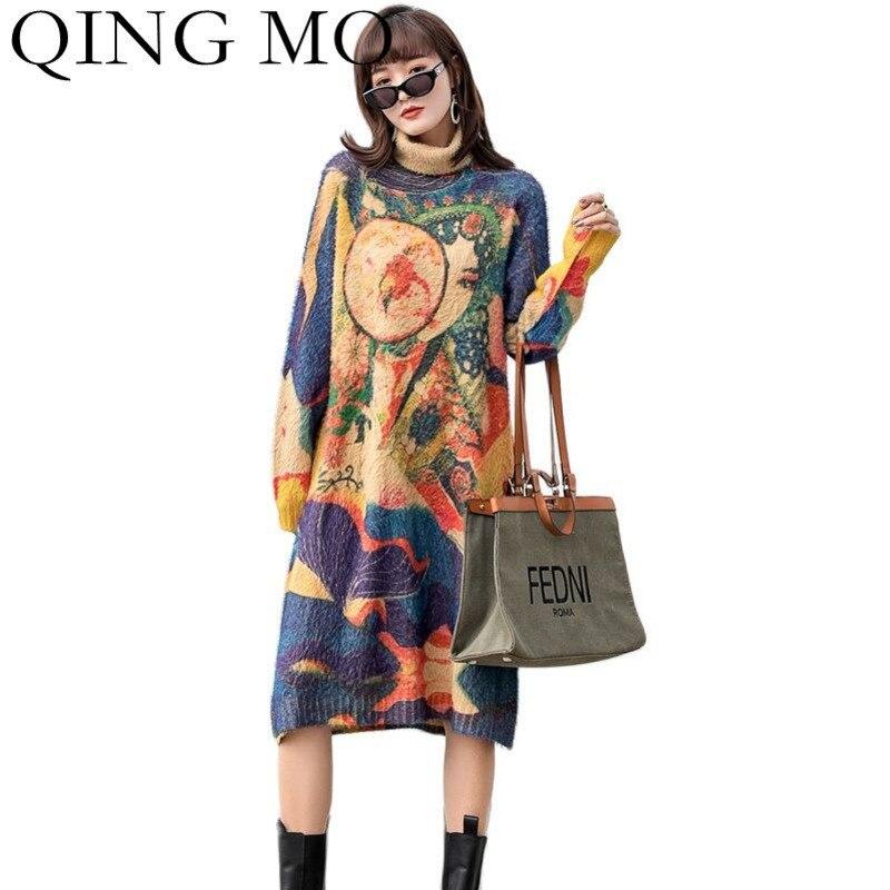 تشينغ مو موضة ريترو فرو منك الياقة المدورة محبوك فستان المرأة 2021 خريف شتاء جديد فضفاض دافئ البلوز سترة فستان ZWL1222