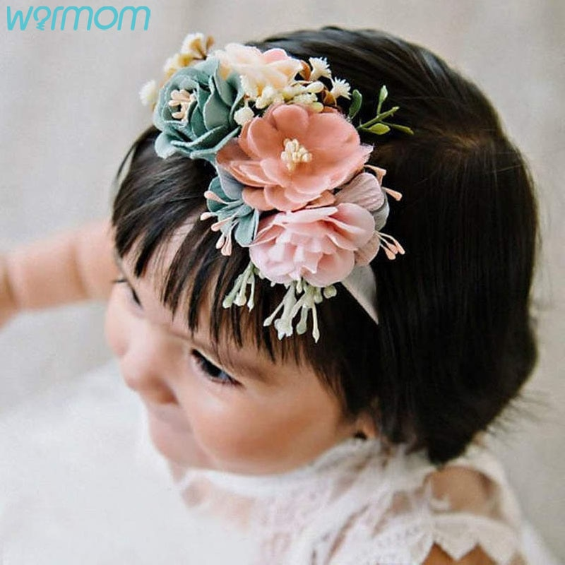fashion multi color simulation rose flower baby stretch headband newborn photography props infant toddler hair band Warmom Flower Nylon Baby Girl Headband Floral Wreath Infant Headband Baby Hair Accessories Newborn Photography Props Turban