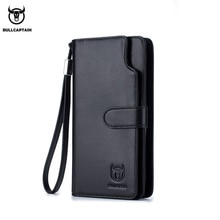 BULLCAPTAIN leather wallet men's fashion two-fold card holder wallet RFID blocking men's long wallet men's clutch bag 028 black