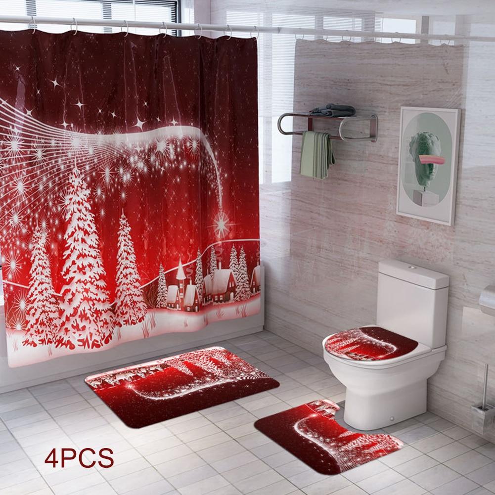 4Pcs Christmas Bath Mat WC Toilet Seat Cover Shower Curtain Set Toilet Mat Toilette Indoor Decoration Christmas Bathroom Decora