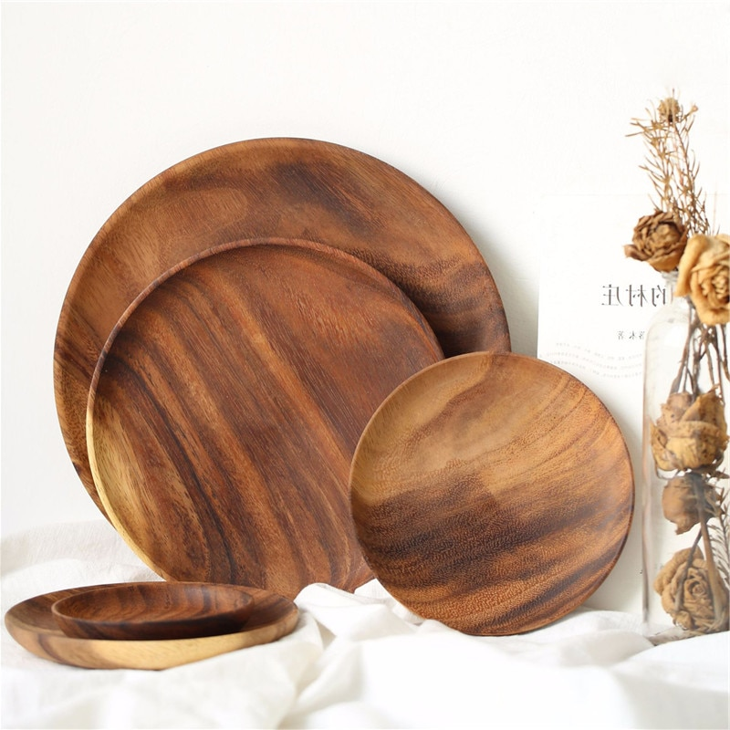 Круглая тарелка из цельного дерева, тарелка из цельного дерева акации, фруктовые блюда, деревянная тарелка, чайный поднос, десертный ужин, тарелка для завтрака, набор посуды