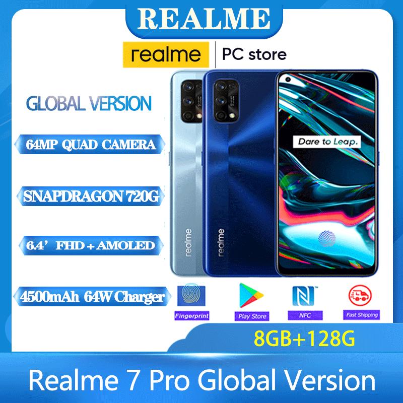 Realme 7 Pro Global Version 6.4'' 8G 128GB 64MP Quad Camera 4500mAh Snapdragon 720G 65W SuperDart Charge Super AMOLED Fullscreen