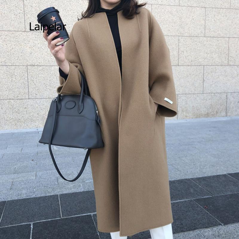 Женские куртки, новинка зимы 2021, модные однотонные пальто в Корейском стиле и длинные однотонные прямые куртки