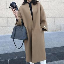 Women's jackets 2021 winter new Korean fashion solid color coats and long solid color straight jacke