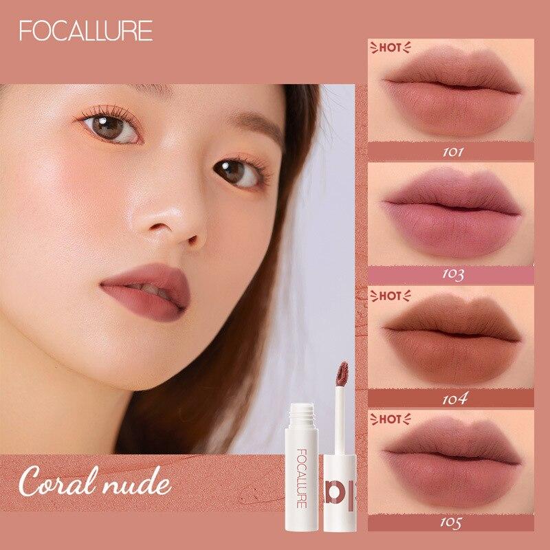 Focallure matte batom lipclay lipcream veludo impermeável longlasting dupla utilização lábio e bochecha maquiagem profissional tslm1