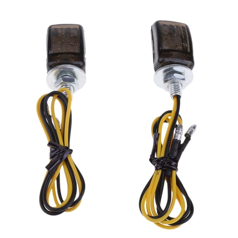 2 pièces universel LED noir Mini petits indicateurs clignotants moto moto moto pour Yamaha