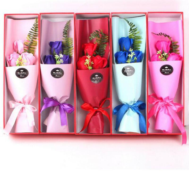 Oso de peluche con rosas de jabón, oso de peluche de lujo para novia, regalo de San Valentín, oso de 3 rosas