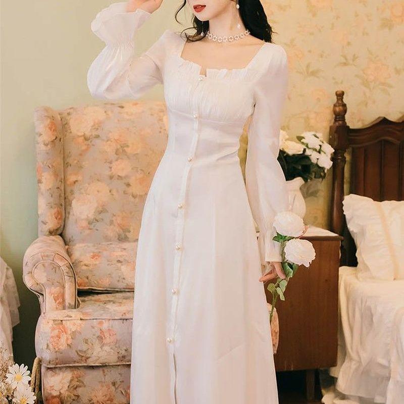Elegant Fairy Dress Women French Vintage Retro Party Midi Long Sleeve Ruffles Sweet Chic White Summer 2021 Woman New