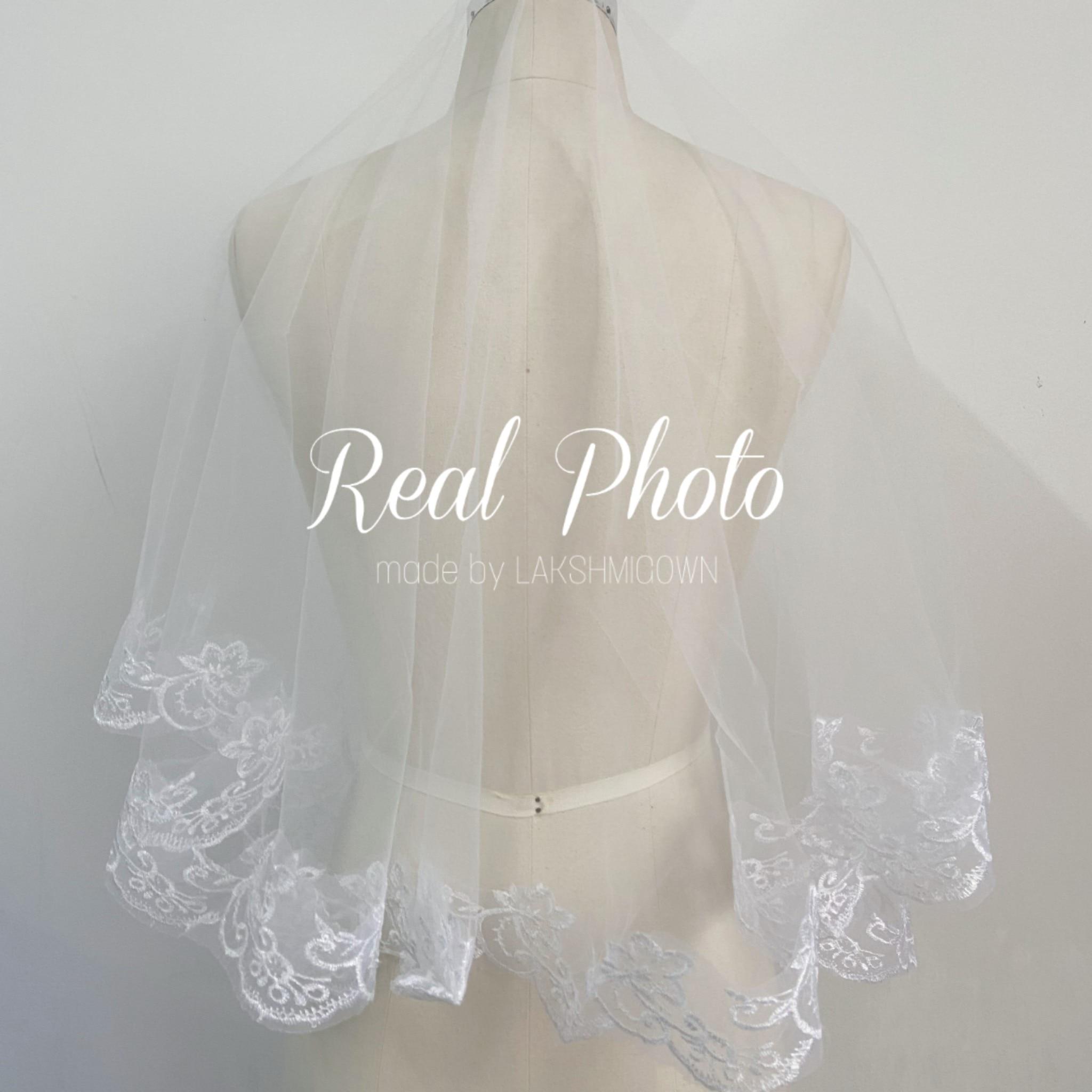 Kathedraal bruiloft witte en ivoren sluiers korte een laag - Bruiloft accessoires - Foto 4