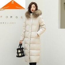 Veste mode femmes Hiver réel fourrure de raton laveur à capuche canard manteau femme coréen longue vers le bas Parka Hiver 96065