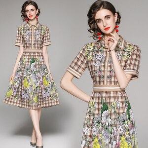 2021 Summer Short Sleeve England Style Designer Print Plaid Floral Knee-Length Shirt Dress Turn-down Collar Button A-LINE Dress