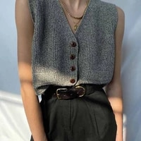 b toto american retro mixed gray knitted vest vest women trendy ins outer wear v neck blouse 2021 new fashion