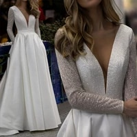 shinny satin wedding dresses women sheer v neck backless long sleeve bridal gowns for bride plus size vestido de noiva