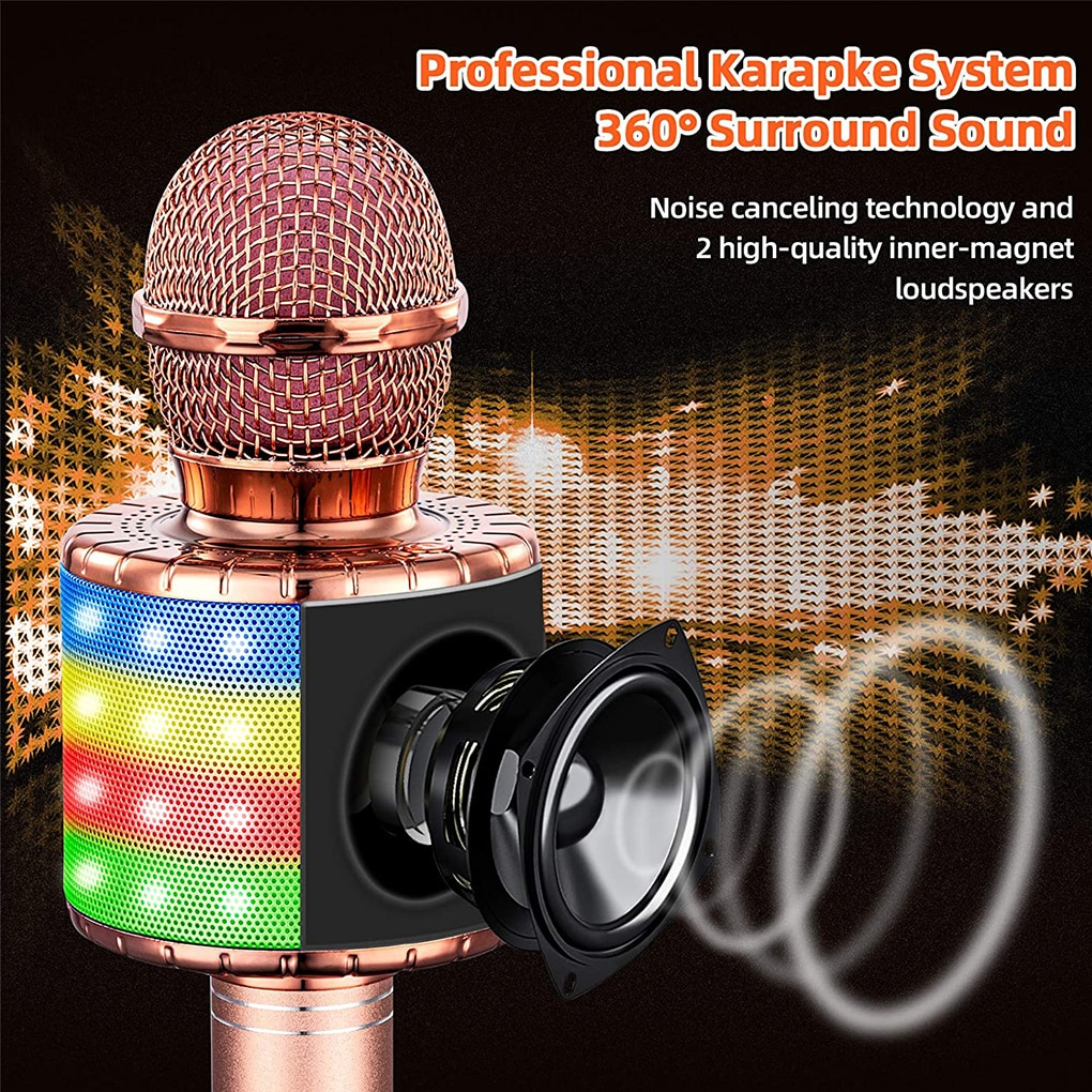 Wireless Karaoke Microphone Bluetooth-compatible Handheld Speaker Home KTV Player with Dancing LED Lights Record Function enlarge