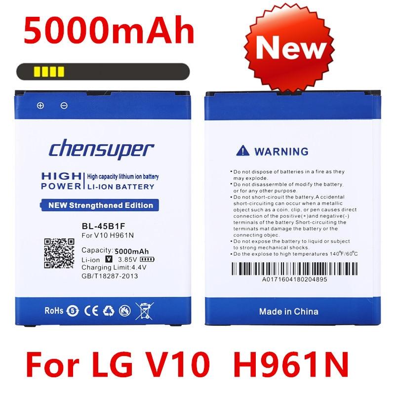 Nueva 5000mAh BL-45B1F para LG V10 batería H961N F600 H900 H901 VS990 H968 teléfono BL45B1F